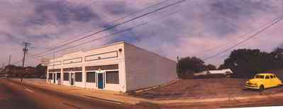 Warrington:-Bills-Fine-Foods_1.jpg:  restaurant, 1940's architectural style, homestyle cooking, yellow 1940's automobile