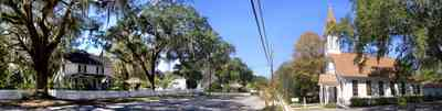 Bagdad:-Methodist-Church_01.jpg:  victorian church building, spanish moss, live oak tree, white picket fence, bagdad florida