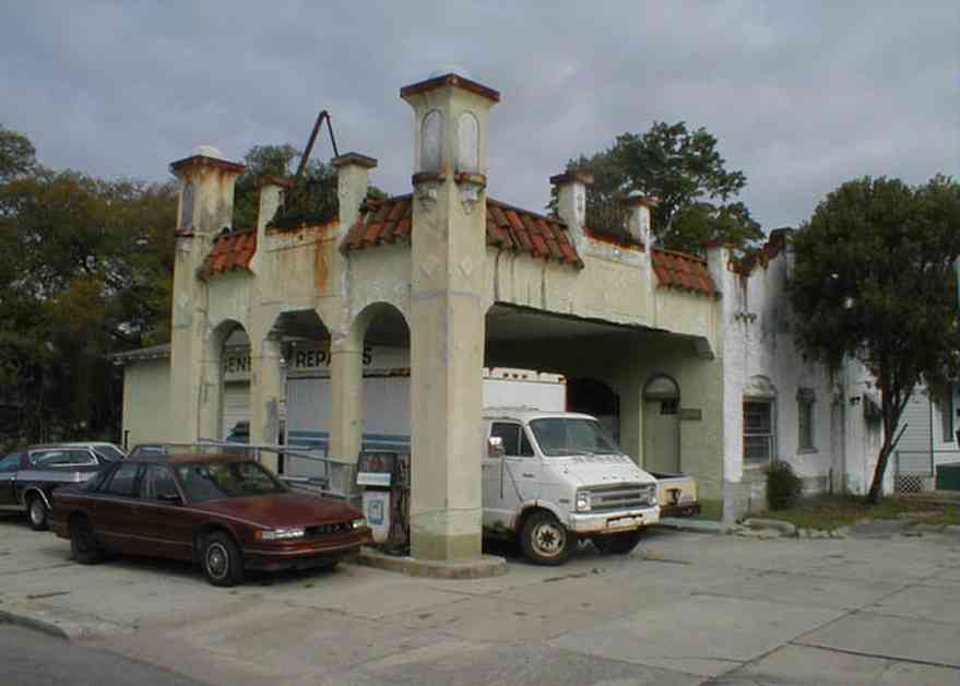 Belmont-Devillers:-Gas-Station_00.jpg:  gasoline, spanish revival architecture, service station, arch, red tile roof