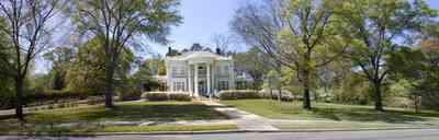 Brewton:-Belleville-Avenue_06.jpg:  victorian mansion, front porch, greek revival facade, classical revival, columns, azalea bushes, turret, colonnade