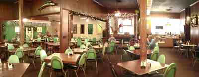 Brownsville:-Oscars-Restaurant_01b.jpg:  1960's decor, formica, green naugahyde, restaurant, cervantes