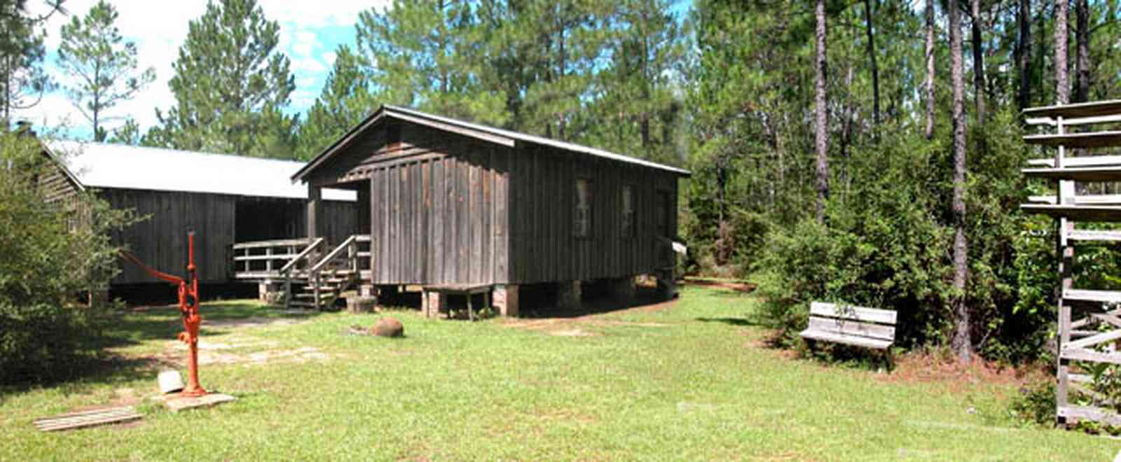Cantonment:-Roy-Hyatt-Environmental-Center-Dog-Trot-House_02.jpg:  dog trot house, wisteria vine, porch, pine tree, board and batten, pump, brick piers