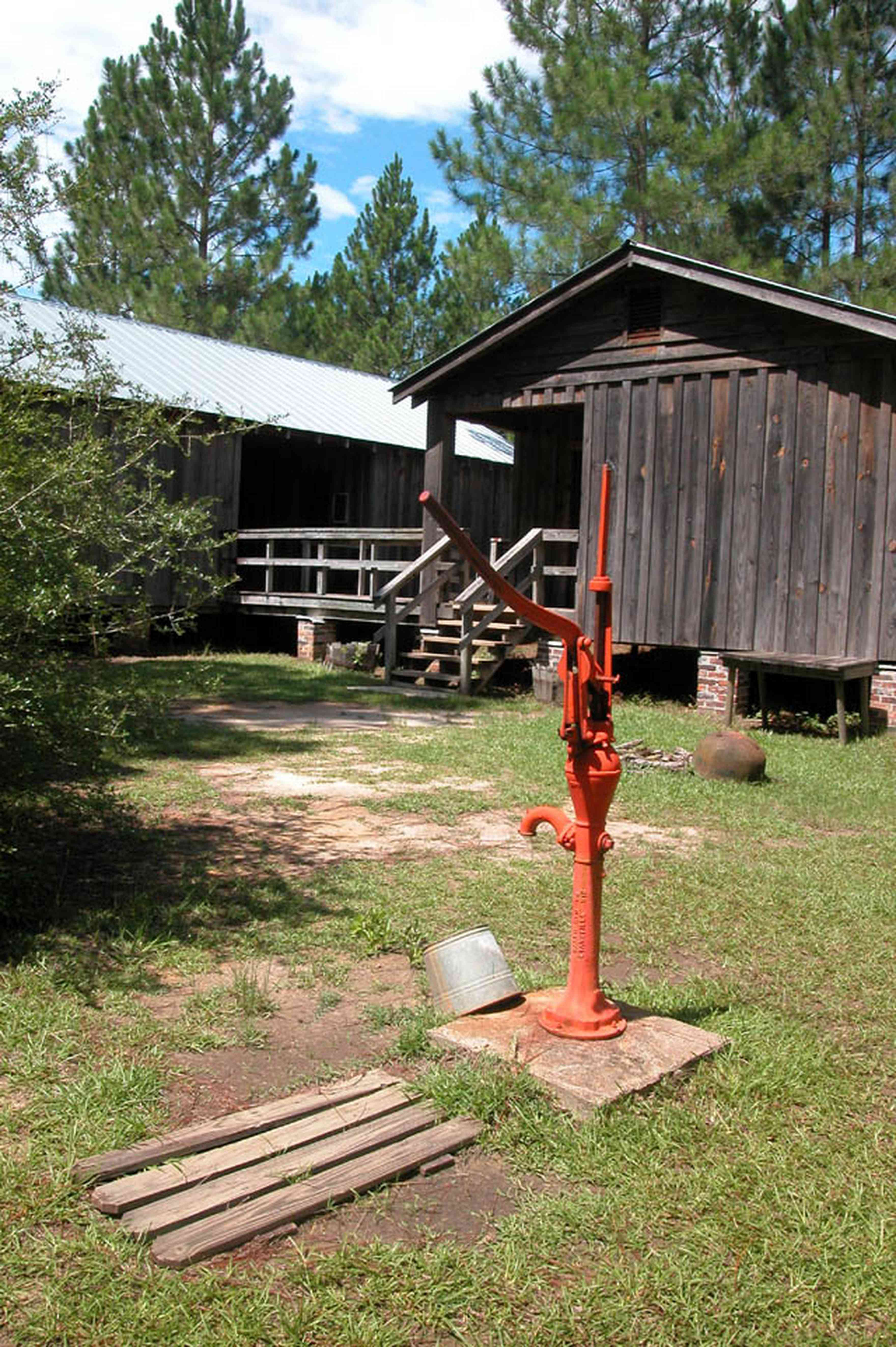 Cantonment:-Roy-Hyatt-Environmental-Center-Dog-Trot-House_02a.jpg:  dog trot house, wisteria vine, porch, pine tree, board and batten, pump, brick piers