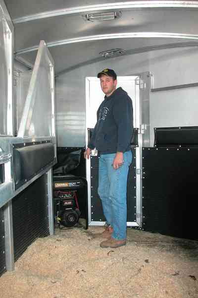 Century:-Brown-Farm_05a.jpg:  horse trailer, sawdust, farm, rodeo rider