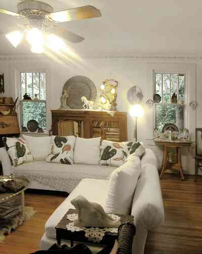 East-Pensacola-Heights:-600-Bayou-Blvd_08.jpg:  sofa, heartpine floors, casement windows, ceiling fam, cottage, oak desk