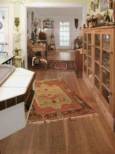 East-Pensacola-Heights:-600-Bayou-Blvd_14.jpg:  oak floors, oriental rug, glass cabinets, ceramic tile counter, craftsman cottage, bungalow, french door