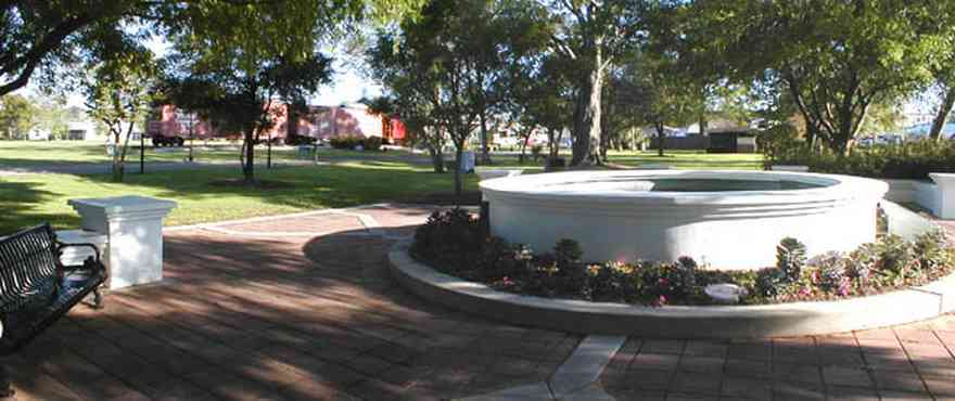 Foley:-Park_01.jpg:  fountain, town square, park, train station, oak tree, flower garden