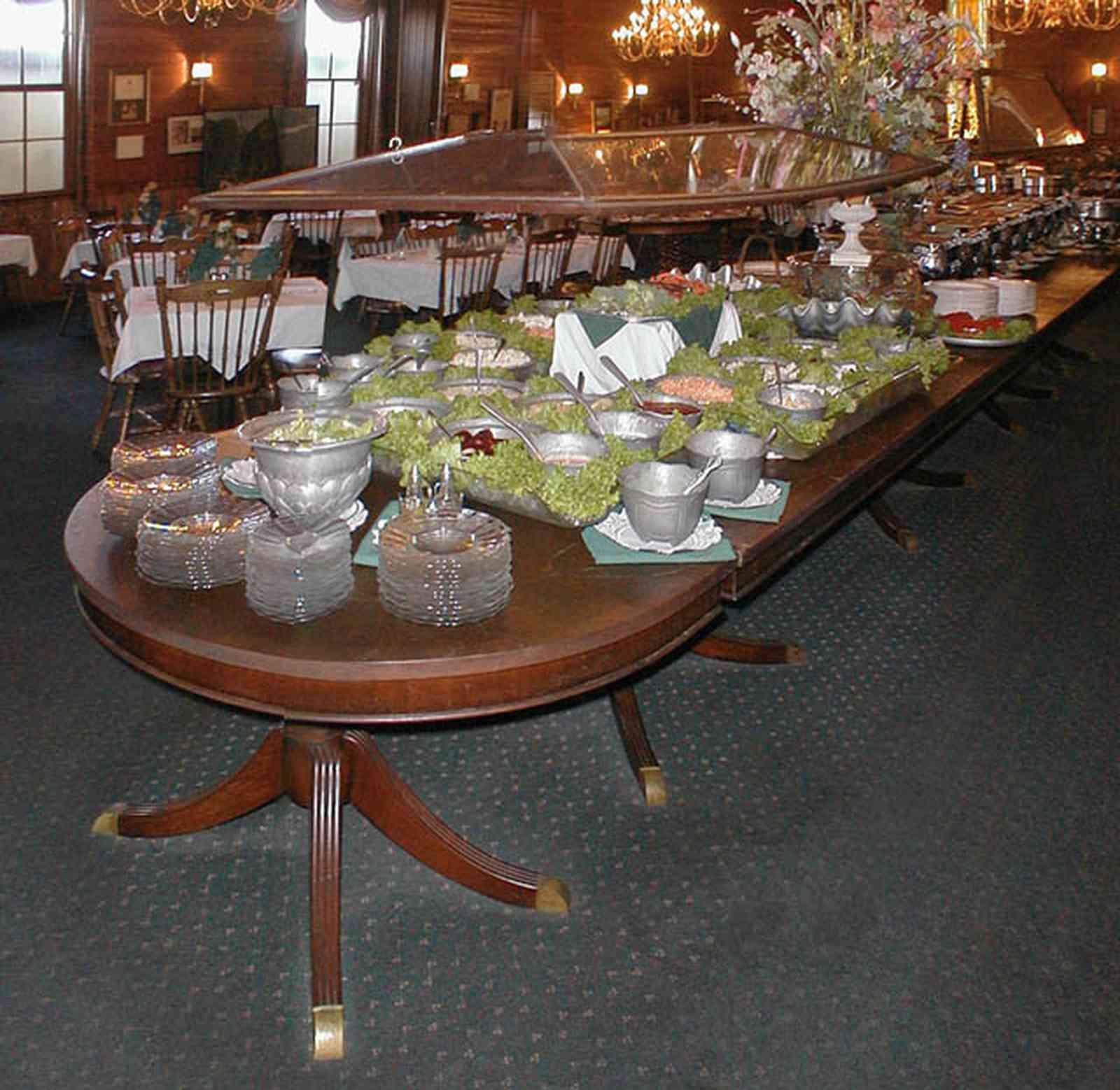 Foley:-The-Gift-Horse-Restaurant_04.jpg:  buffet table, restaurant, chandelier, leaded glass doors, duncan phyfe table, silver compote