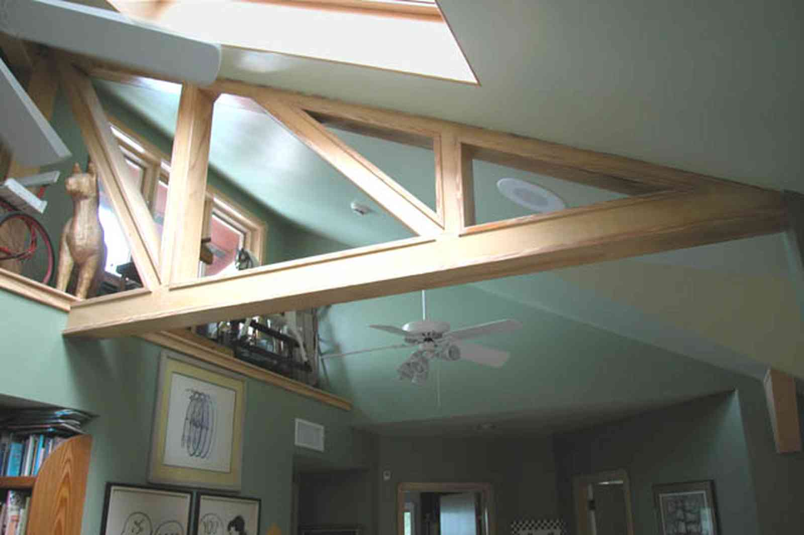 Gulf-Breeze:-92-High-Point-Drive_14.jpg:  loft, rafters, second floor, sculpture, drawings, peanuts cartoon drawings, ,