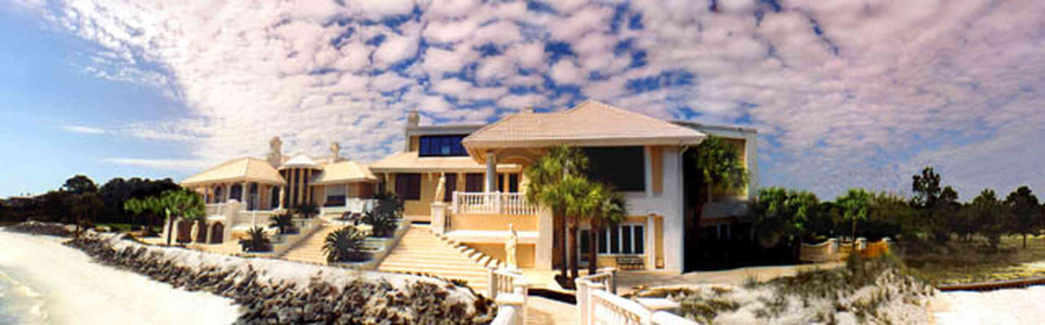 Gulf-Breeze:-Levin-House_01a.jpg:  cirrus clouds, mansion, italienate mansion, beach, bay, greek statues, palm trees