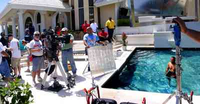 Gulf-Breeze:-Levin-House_11.jpg:  swimming pool, roy jones, crew members, camera, mansion, ed banks