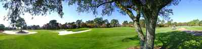 Gulf-Breeze:-Tiger-Point-Golf-Club_06.jpg:  golf course, fairway, oak tree, sand trap