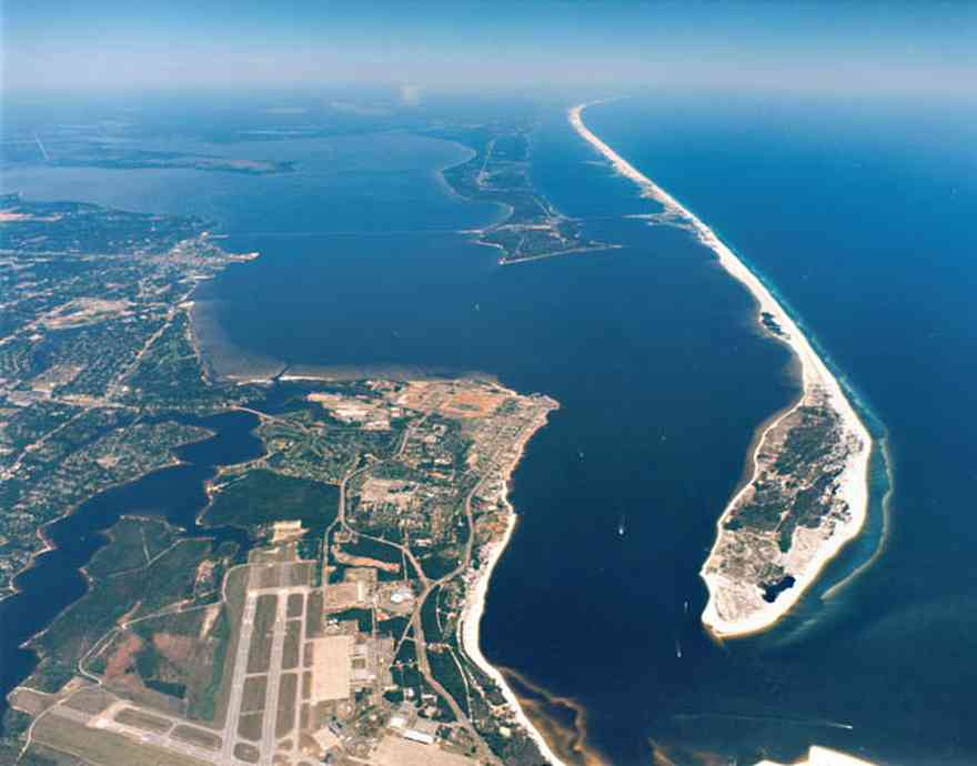 Gulf-Islands-National-Seashore:-Fort-Pickens:-Aerial_01.jpg:  barrier island, pass, sound, fort, civil war, naval air station, gulf of mexico, gulf breeze, pensacola, runway, escambia bay, escambia county