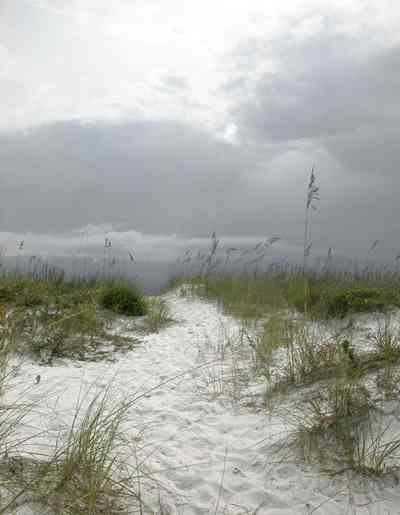 Gulf-Islands-National-Seashore:-Fort-Pickens:-Battery-234_01.jpg:  barrier island, dunes, cumulus clouds, storm, sea oats, crystal sand, dunes