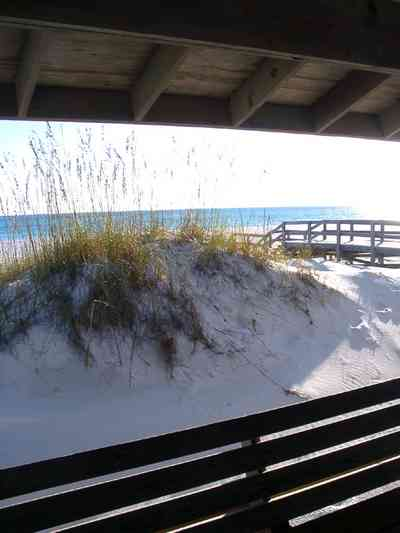 Gulf-Islands-National-Seashore:-Langdon-Beach_04b.jpg:  dunes, walkover, boardwalk, gulf of mexico, picnic shelter