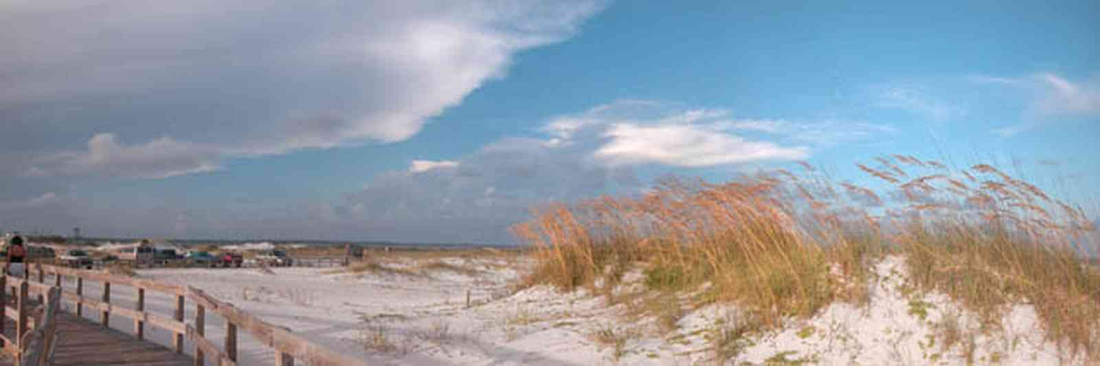 Gulf-Islands-National-Seashore:-Opal-Beach_07.jpg:  dunes, sea oats, boardwalk, parking lot, mixed skies, gulf of mexico, beach habitat, barrier island, quartz sand, fiddler crab