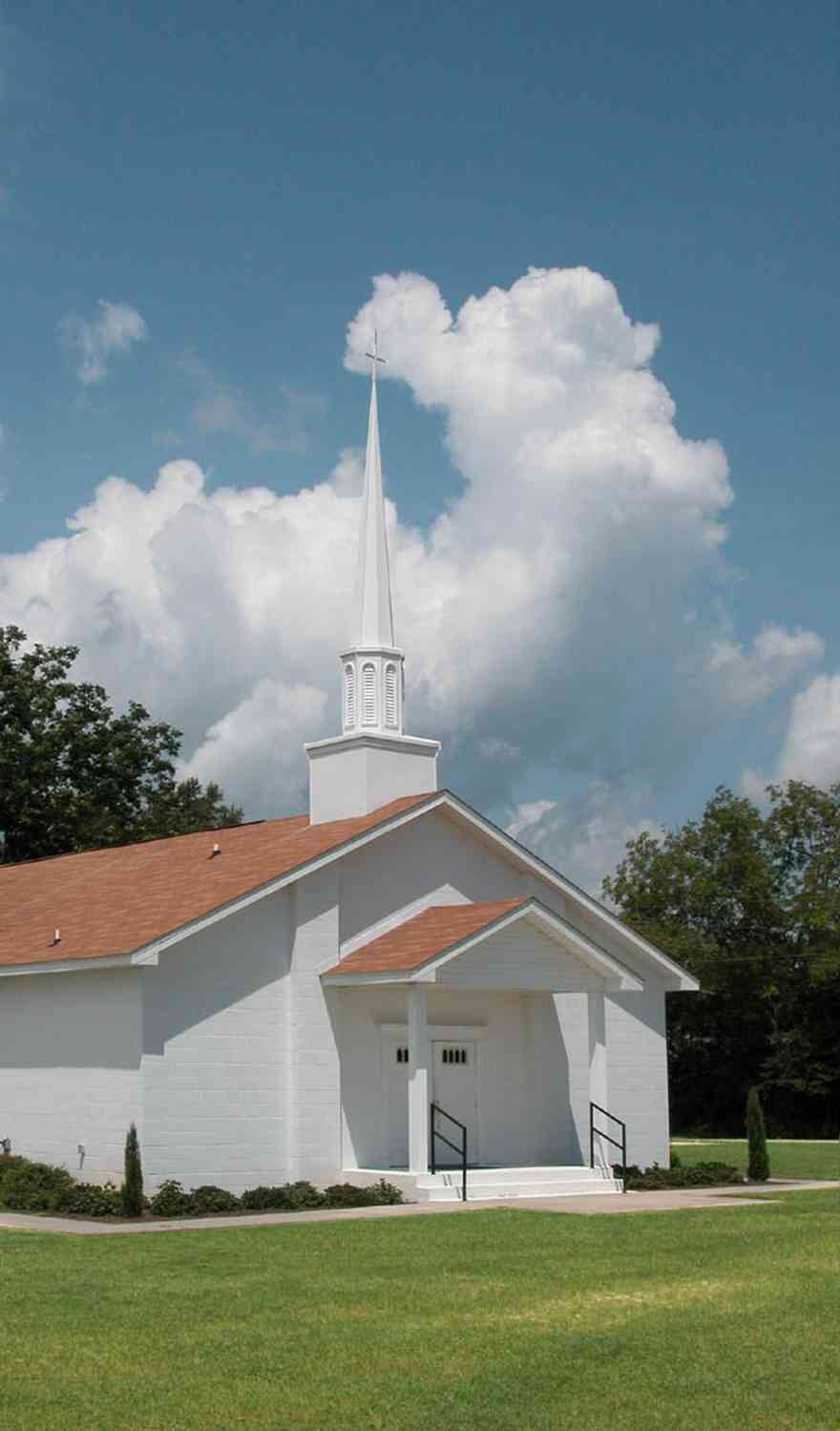 Hollandtown:-New-Bethel-Baptist-Church_03.jpg:  white church, steeple, cotton field, farm, farmland, worship, santa rosa county,