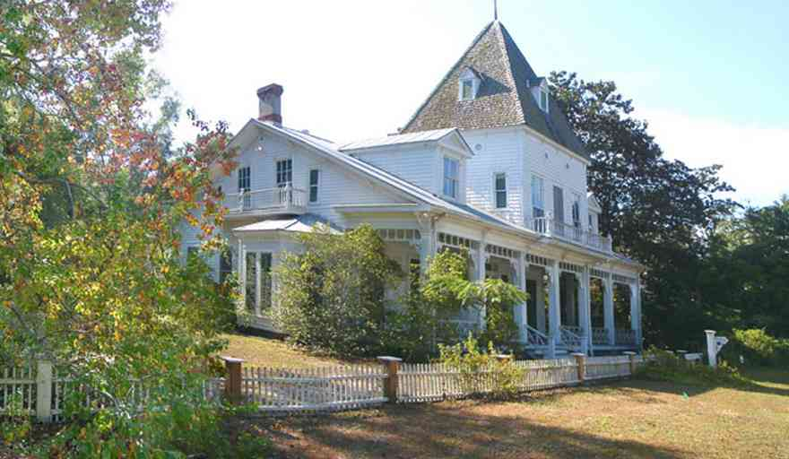 Milton:-Historic-District:-302-Pine-Street:-Ollinger-Tighman-House_--s-House_01.jpg:  victorian house, vivtorian front porch, picket fence, gothic style, gothic tower, victorian home