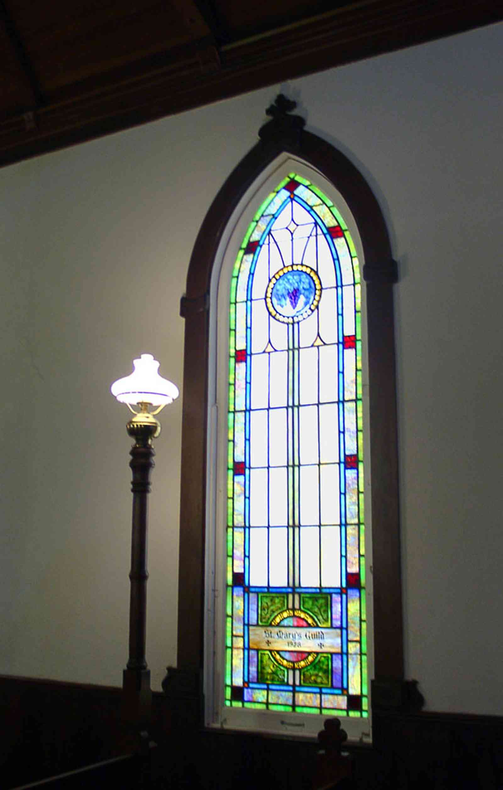 Milton:-Historic-District:-St.-Mary-Episcopal-Church_08.jpg:  stained glass window, pew, church