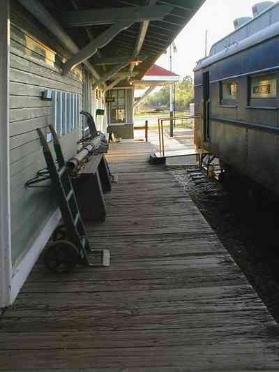 Milton:-L-N-Train-Depot_06.jpg:  train station, csx rail line, caboose, train crossing