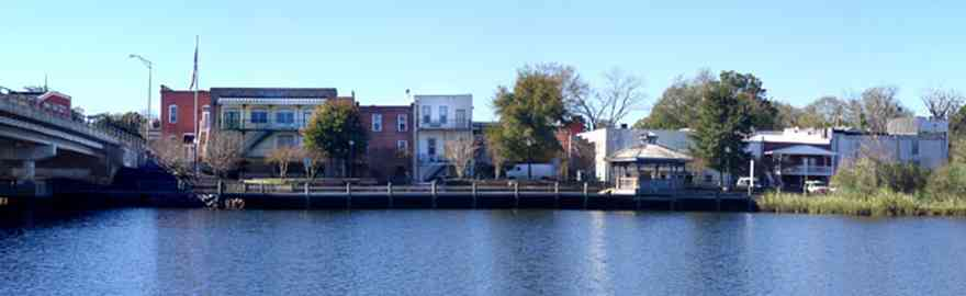 Milton:-Riverwalk_02.jpg:  bridge, 19th century downtown buildings, gazebo, deck, pier