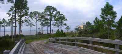 Navarre:-Biscayne-Pointe-Drive-House_04.jpg:  wooden bridge, pine tree, escambia bay, water, house
