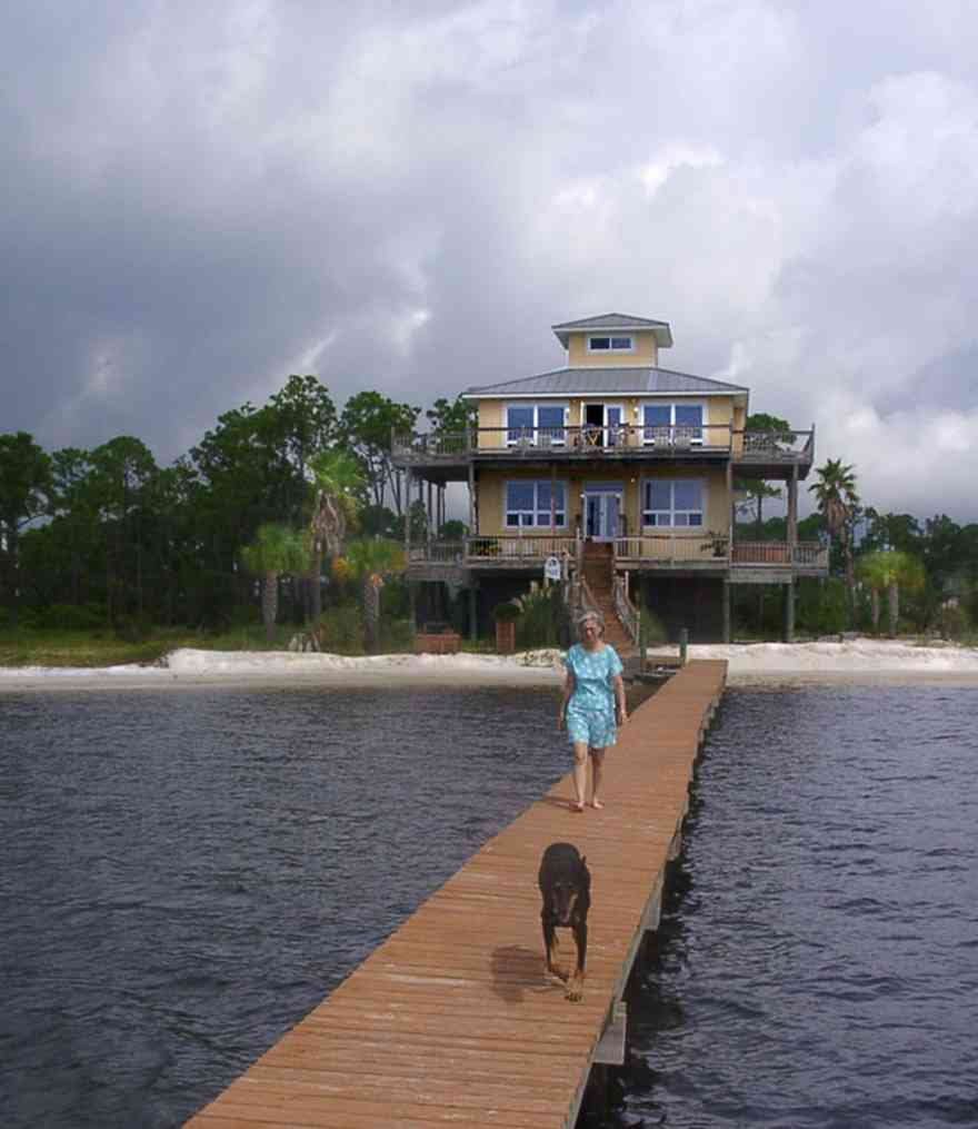 Navarre:-Biscayne-Pointe-Drive-House_24.jpg:  pier, deck, house, sand, dog, palm tree, beach house, ,