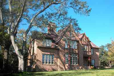 North-Hill:-1125-Spring-Street_02a.jpg:  tudor architectural style, gothic revival style, brick house, oak tree, period house