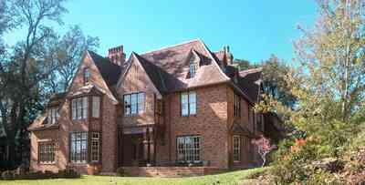 North-Hill:-1125-Spring-Street_02b.jpg:  tudor architectural style, gothic revival style, brick house, oak tree, period house