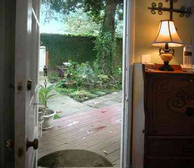 North-Hill:-123-West-Lloyd-Street_23.jpg:  lamp, deck, porch, garden, backyard, welcome mat, french door, breakfast nook