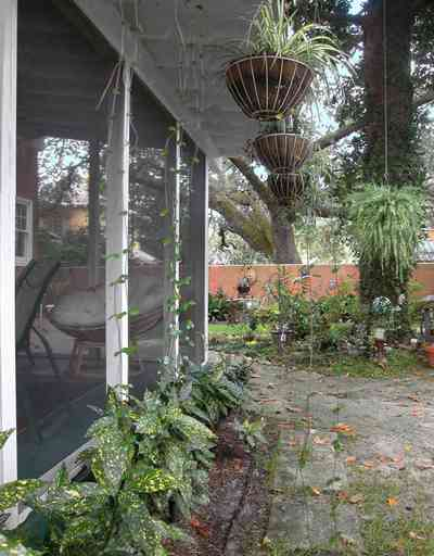 North-Hill:-123-West-Lloyd-Street_27.jpg:  backyard, garden, screened porch, fern baskets, oak tree, stucco wall
