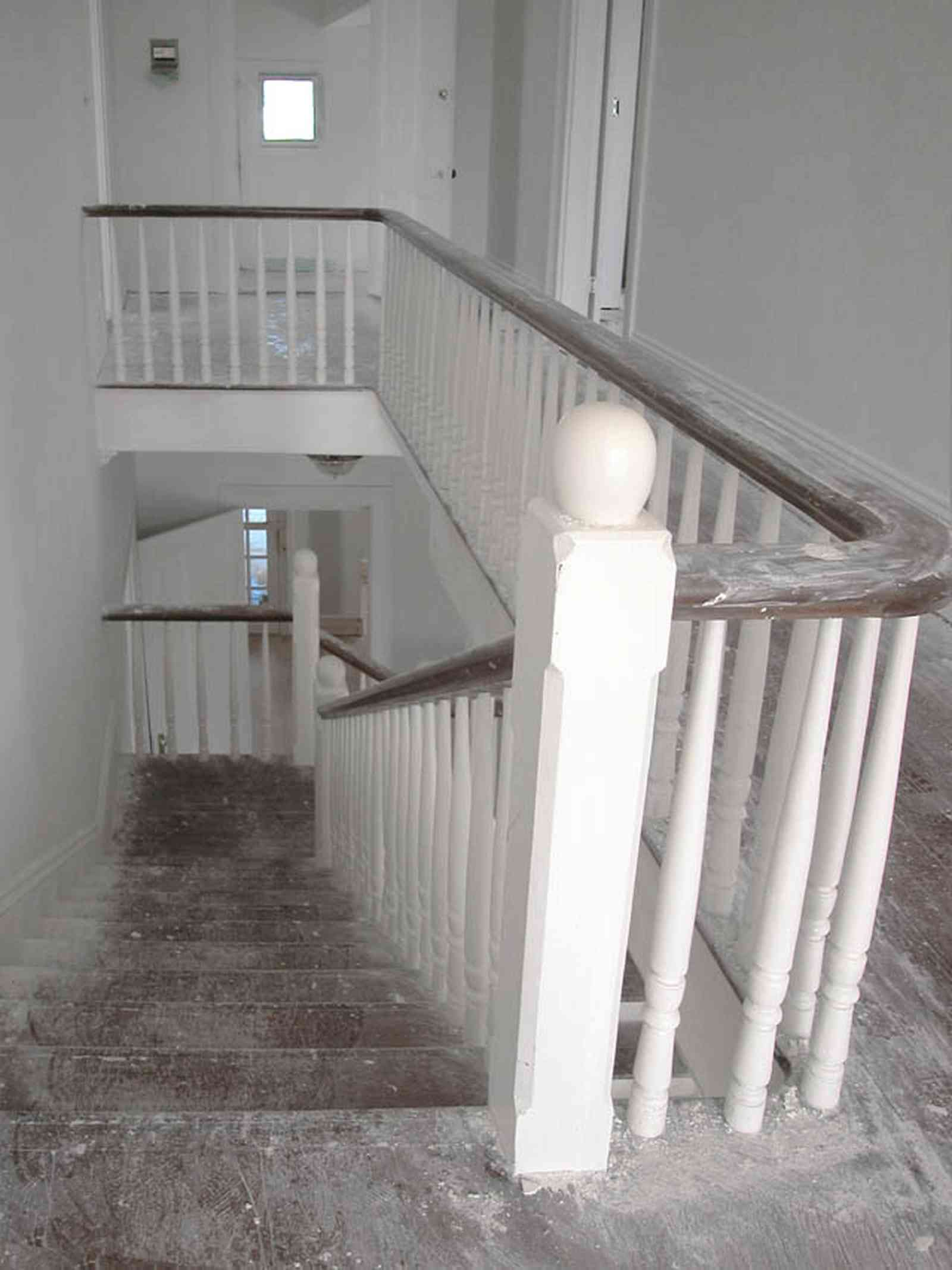 North-Hill:-200-West-Jackson-Street_24.jpg:  staircase, second floor landing, bannisters, victorian house, stair railing