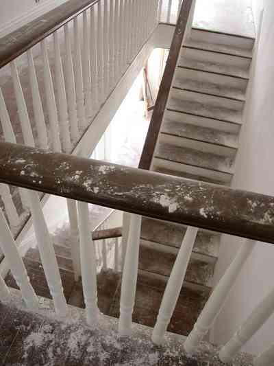 North-Hill:-200-West-Jackson-Street_25.jpg:  staircase, second floor landing, stair railing, bannister