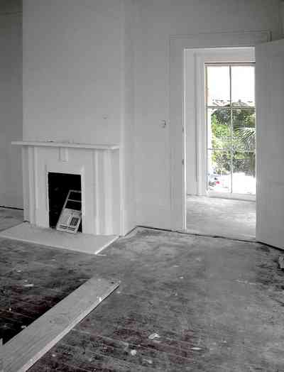 North-Hill:-200-West-Jackson-Street_31.jpg:  front parlor, upstairs, second floor, heart pine floor, mantle, fireplace