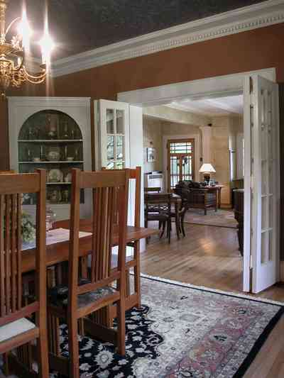 North-Hill:-284-West-Gonzales-Street_18.jpg:  french doors, chandelier, craftsman cottage, oriental rug, corner cabinet,