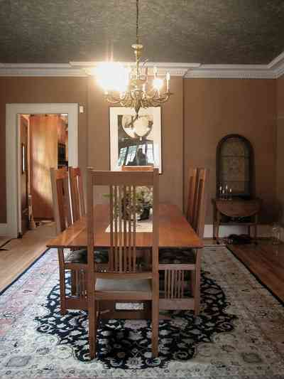 North-Hill:-284-West-Gonzales-Street_19.jpg:  dining room, table, oriental rug, chandelier, craftsman cottage,
