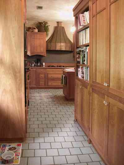 North-Hill:-284-West-Gonzales-Street_21.jpg:  kitchen, tile floor, hood, stove, craftsman cottage