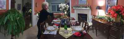 Pace:-Floridatown_08.jpg:  dining room, gloria taylor, candles, poinsetta, fireplace