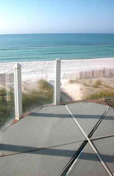 Pensacola-Beach:-Ariola-Drive-Art-Deco-House_09.jpg:  sand, crystal sand, white sand, sugar sand, sea oats, bauhaus architectural style, palm trees, dune restoration, beachfront property