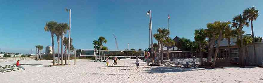 Pensacola-Beach:-Flounders-Restaurant_01.jpg:  volleyball, palm trees, quietwater beach, sand