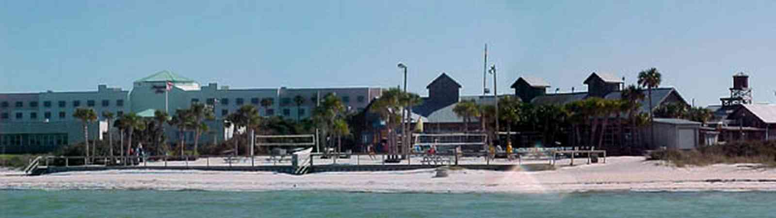 Pensacola-Beach:-Flounders-Restaurant_02.jpg:  sound, gulf of mexico, gulf coast, palm trees, hampton hotel, quietwater beach, volleyball courts
