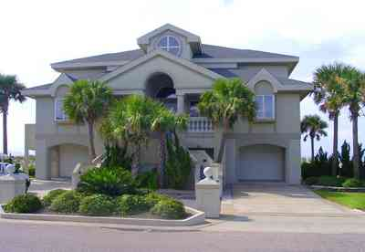 Pensacola-Beach:-Hermosa-St-Homes_10.jpg:  mediterrean villa, palm tree, gulf of mexcio