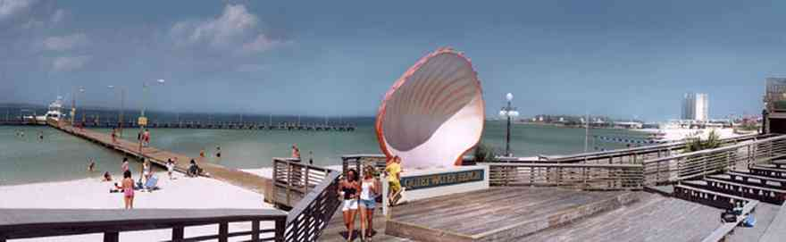 Pensacola-Beach:-Quietwater-Beach_01.jpg:  gulf coast, escambia county, gulf of mexico, bandshell, boardwalk, soundside, santa rosa sound, beach, the boardwalk shopping center, santa rosa island