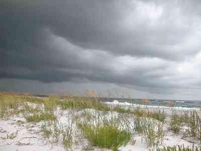 Pensacola-Beach:-Sea-Oats_03.jpg:  surf, dunes, gulf of mexico, waves, storm, cumulus clouds, crystal white sand,