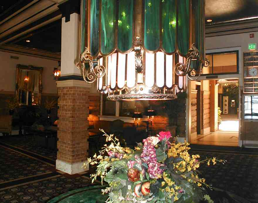 Pensacola:-Crowne-Plaza-Pensacola-Grand-Hotel_01.jpg:  hotel, railroad station, downtown, stained glass, tiffany lamp