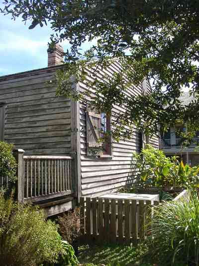 Pensacola:-Historic-Pensacola-Village:-Julee-Cottage_07.jpg:  slave cottage, picket fence, back porch, slave quarters, pensacola historic village, tivoli house