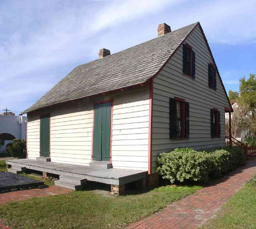 Pensacola:-Historic-Pensacola-Village:-LaValle-House_01.jpg:  creole cottage, gulf coast cottage, pensacola historic village, shake roof, shutters, brick sidewalk