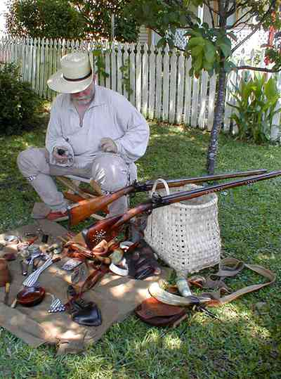 Pensacola:-Historic-Pensacola-Village:-Lear-Rocheblave-House_11.jpg:  historic reenactment, 1812 militiaman, rifle, basket, gunsmith, museum