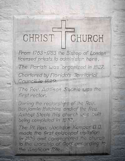 Pensacola:-Historic-Pensacola-Village:-Old-Christ-Church_00.jpg:  plaque, historic marker, brick structure, religious service, church house, victorian village