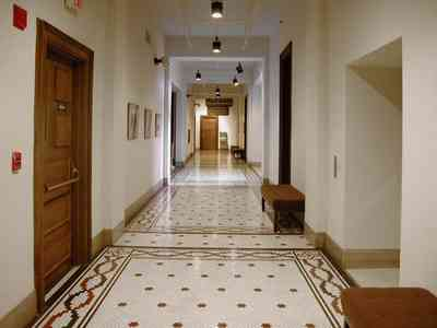Pensacola:-Historic-Pensacola-Village:-T.-T.-Wentworth-Jr.-Museum_14.jpg:  terrazzo tile, museum, hall, richard brosnaham, dora johnson, entrance, exhibits